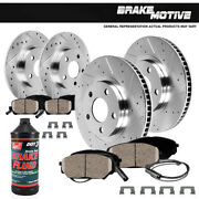 Front And Rear Drill Slot Brake Rotors And Ceramic Pads For Audi A5 A4 Quattro Q5