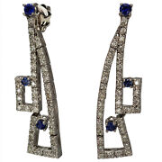 Vintage Long Hanging Earrings Diamond With Sapphires 14k White Gold