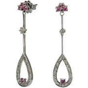 Diamond Drop Earrings In 14k White Gold With Pink Sapphires