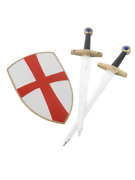 4 Piece Knight Crusader Set With Two Swords And Shield 50cm Fancy Dress Accessory