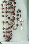 Htf Vintage Sterling Silver Red Blood Of Christ Glass Rosary