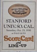 Call-bulletin 1930 Stanford Cards Vs Usc Trojans Football Line Up And Scorecard