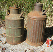 2 Antique Primitive American Cast Iron Socony Oil Gas Station Fuel Cans Art Sign