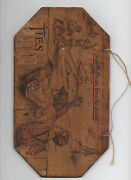 1910 Hanging Wooden Pyro Art Baseball Advertising Sign For Ties