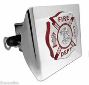 Fire Maltese Cross Chrome And Red Decal Usa Made Plastic Trailer Hitch Cover