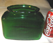 Antique Country Primitive Green Ribbed Hoosier Cabinet Spice Storage Glass Jar