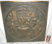 Antique Cast Iron Fireplace Cover Country Bronze Panel Music Art Plaque Monkey