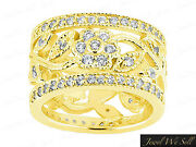 2.25ct Round Brilliant Cut Diamond Wide Flower Eternity Band Ring 14k Gold H Si2