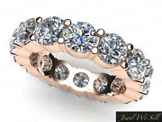Natural 4.25ct Round Diamond Classic Shared Prong Eternity Ring 14k Gold G-h I1