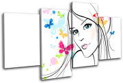 Girl Butterfly Vector Abstract Multi Canvas Wall Art Picture Print Va
