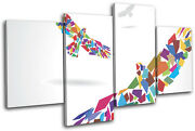 Birds Colourful Geometric Abstract Multi Canvas Wall Art Picture Print Va