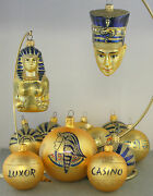 Kurt Adler Set Of 13 Egyptian Collection Luxor Casino Ornaments Crate Sphinx
