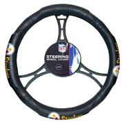 New Nfl Pittsburgh Steelers Synthetic Leather Car Truck Steering Wheel Cover