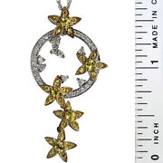 Vintage Diamond Pendant With Yellow Sapphire Accents