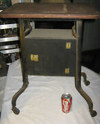 Antique Industrial Leg Box Humidor Wood Cast Iron Castor Wheel Table Plant Stand