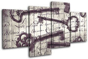 Keys Old Shabby Chic Vintage Multi Canvas Wall Art Picture Print
