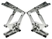 New 67-68 Mustang Polished Solid Frame Hood Hinges And Gas Springs For Steel Hoods