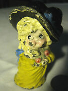 Antique Hubley Victorian Girl Lady Bust Cast Iron Desk Toy Statue Paperweight