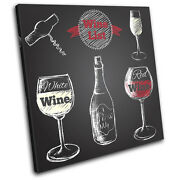 Wine Bar Drink Illustration Single Canvas Wall Art Picture Print