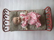 Victorian Era Cast Iron Doll Bed With Bedding And Vintage Doll 15 1/4 X 8 1/2