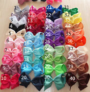 Girls 4 Inch Hair Bows Pony Band Bobble Ponio Grossgrain Ribbon 40 Colours Lot