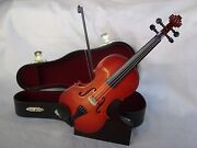 Violin Miniature 7 Long Wood With Case And Stand Great Music Gift Brand New