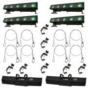 American Dj 4 Wifly Bar Qa5 Led Wash Fixtures W/ Bags Clamps And Safety Cables