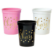 500pk Metallic Gold Cheers Party Cups Bridal Shower Wedding Party Decorations