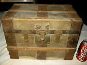 Antique Primitive Country Wood Box Cast Iron Doll Toy Trunk Art Stand Orbin Lock