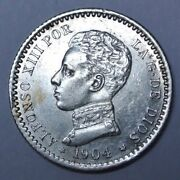 1904 Spain - 50 Centimes - .835 Silver - Small 04 - Alfonso Xiii - Nice Lustre