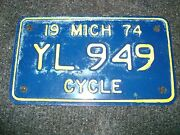 Un-issued Unused New 1974 Michigan Motorcycle License Plate Yl 949 Vintage
