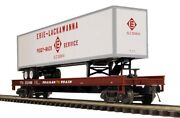 Discontinued 2010 Mth Erie Lackawanna Flat Car W/ 48and039 Trailer New In The Box