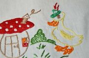 Bavarian Easter Duck And His Happy Mushroom Home Vtg German Hand Tablecloth Frog
