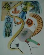 Vintage Mid Century Untitled Erotic Lithograph Signed By Henry Miller 11/100