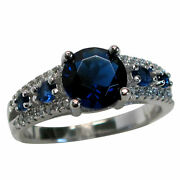 Incredible 2 Ct Round Cut Sapphire 925 Sterling Silver Ring Size 5-10