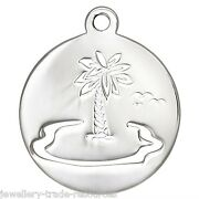 17mm Sterling Silver Palm Tree + Beach Charm / Pendant For Jewellery Marking