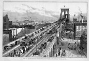 Brooklyn Suspension Bridge 1883 Approach On The New York Side Horses Carriages