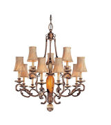 13 Light Chandelier In Cartouche Bronze Finish Hand-fitted Cracked Pen Glass