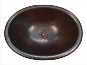 19 Oval Copper Self Rimming Drop In Bathroom Sink With Lt Drain
