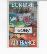 Air France 1948 Constellation And Europe Lithograph Alepee Airline Issue Postcard