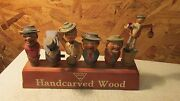 Old Anri Carved Wood Mechanical Bottle Stoppers And Stand
