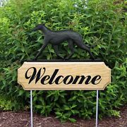 Greyhound Wood Welcome Outdoor Sign Black