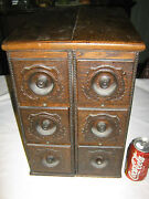 Antique Primitive Country Home Usa Wood Sewing Cabinet Storage Draw Stand Table