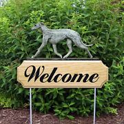 Greyhound Wood Welcome Outdoor Sign Blue