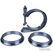 Rev9 3pc 2.5 Ss V Band Turbo Exhaust Downpipe Quick Release Clamp + Flange Kit