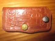 1940and039s Vintage Pontiac Embossed Leather Keychain Holder Official Logo And Car B