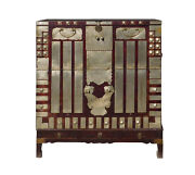 Chinese Vintage Korean Style Silver Hardware Trunk Cabinet Cs1315