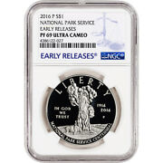 2016-p Us National Park Service Commem Proof Silver 1 - Ngc Pf69 Early Releases