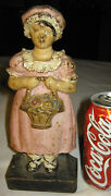 Antique Cast Iron Home Maid Girl Lady Dress Art Statue Sculpture Doorstop Hubley