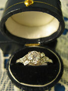 18k White Gold .6 Ct Tw Old European Cut Diamond Ring Size 8 With Appraisal
